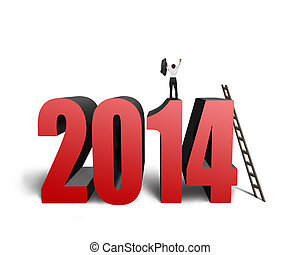 Businessman standing on top of 2014 with wooden stepladder