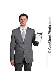 Businessman standing on white background with calculator