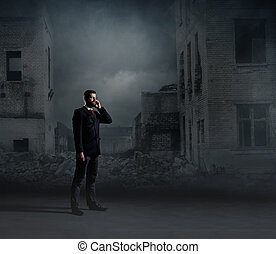 Businessman standing over apocalyptic background. Crisis, default, setback concept.