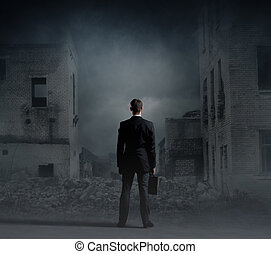 Businessman standing over apocalyptic background. Crisis, default, setback concept.