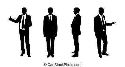 businessman standing silhouettes set 1