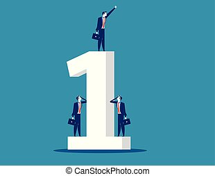 Businessman standing the number one. Concept business vector.