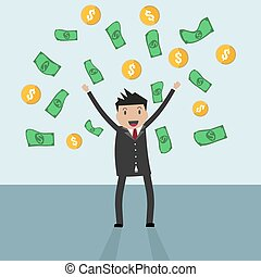 businessman standing under falling raining money
