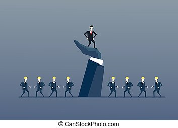Businessman Standing Up On Big Hand Leader With Business People Group Boss Leadership Concept