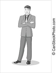Businessman standing. Vector illustration isolated on a white background