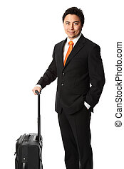 Businessman standing with a bag