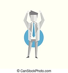 Businessman standing with arms up vector Illustration on a white background