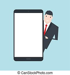 Businessman standing with blank screen tablet, flat design.