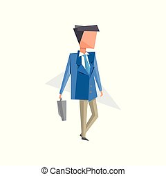 Businessman standing with briefcase cartoon vector Illustration on a white background