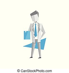 Businessman standing with documents in his hands vector Illustration on a white background