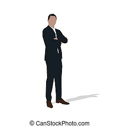 Businessman standing with folded arm, abstract vector illustration. Thinking manager silhouette