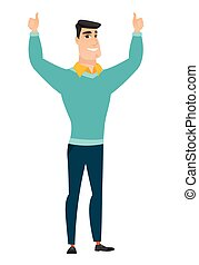 Businessman standing with raised arms up.