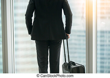 Businessman standing with suitcase near the window