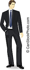 businessman standing with the hand in pocket