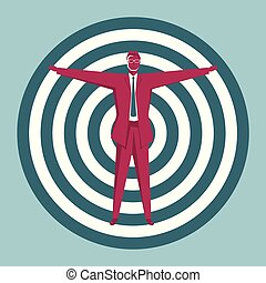 Businessman stands at the bulls-eye. Isolated on blue background.