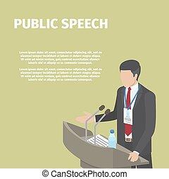 Businessman Stands behind Podium on Public Speech - Man in...