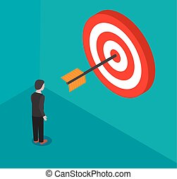 Businessman stands in front of a target with arrow. Isometric ve