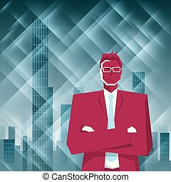 Businessman stands in front of the skyscraper. The background is blue.