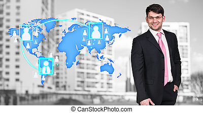 Businessman stands near map with icons