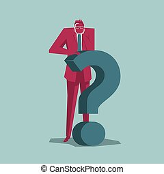 Businessman stands next to the question mark. Isolated on blue background.