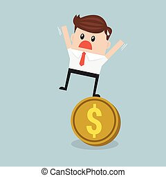 Businessman Stands On a Coin.