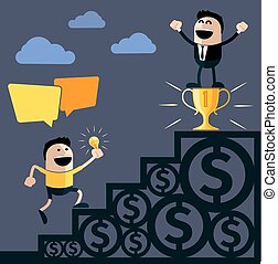 Businessman stands on pedestal cup