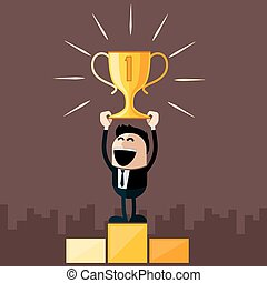 Businessman stands on pedestal holds cup - Happy businessman...