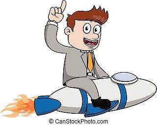 Businessman start up rocket - Businessman start up rocket