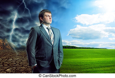 Businessman staying against bad and good weather, concept picture