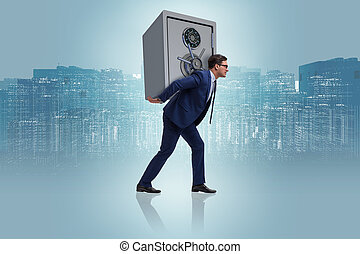 BUsinessman stealing metal safe from bank