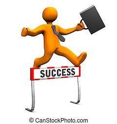 Businessman Steeplechase Success - Orange businessman with...