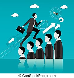 Businessman step on other people head in the way to success. Business concept vector illustration.