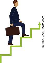Businessman step stock market concept