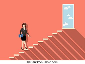Businessman stepping up a staircase to success