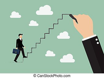 Businessman stepping up on drawing stair