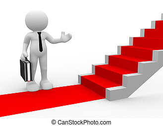 Businessman - 3d people - man, person with a red carpet and...