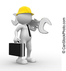 Businessman - 3d people - man, person with a wrench....