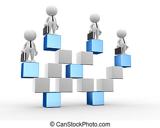 Businessman - 3d people - men, person the cube-shaped...