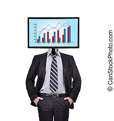 businessman and monitor with chart for a head
