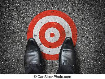 Businessman Stood On A Target
