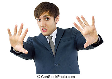 Businessman Stop Gesture