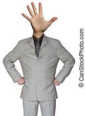 Businessman stop hand head