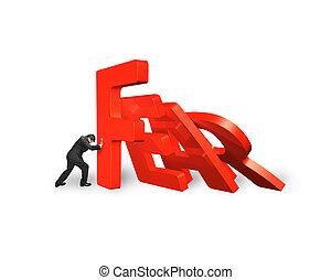 Businessman stopping domino of red fear word falling