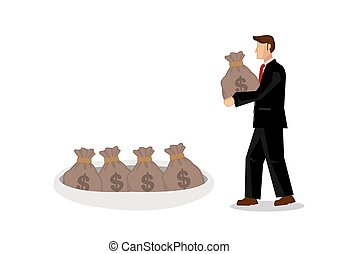 Businessman storing his money in a hole. Concept of...
