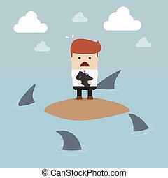 Businessman stranded in an island surrounded by sharks, VECTOR, EPS10