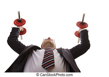 businessman strength lifting weights (isolated on white)