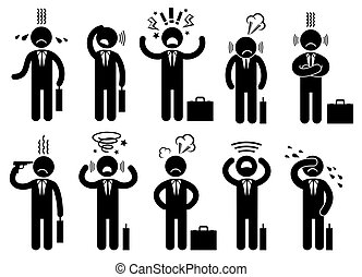 Businessman stress pressure, business mental issues, concept vector icons with pictogram people characters