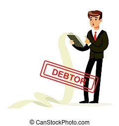 Businessman stressed out by long list of debts, debtor vector Illustration