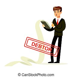 Businessman stressed out by long list of debts, debtor vector Illustration