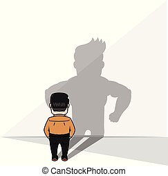 businessman strong shadow vector illustration